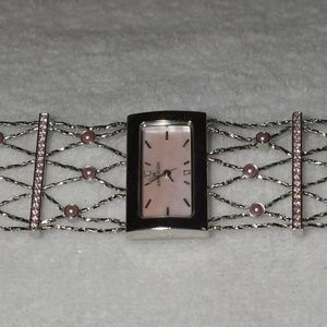 Anne Klein 925SS Pink Face Formal Bracelet Watch
